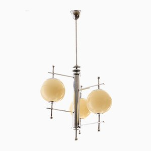 Vintage Bauhaus Opaline Glass and Chrome Plated Pendant Lamp, 1930s