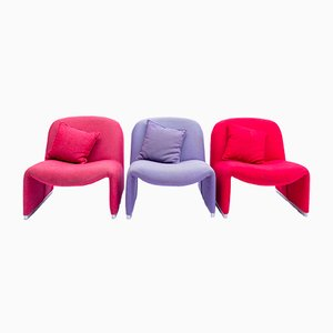 Vintage Italian Alky Lounge Chairs by Giancarlo Piretti for Castelli, Set of 3