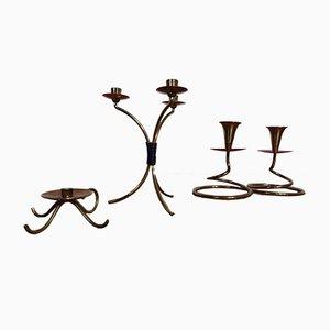 Filigrane deutsche Kerzenständer aus Messing & Kupfer, 1960er, 3er Set