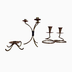 German Filigree Brass and Copper Candleholders, 1960s, Set of 3