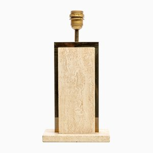 Vintage Belgian Brass Travertine Table Lamp by Camille Breesch
