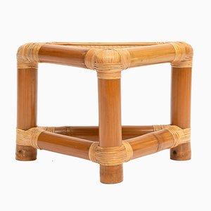 Tavolino triangolare vintage in bambù
