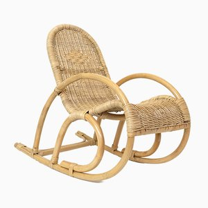 French Children's Rattan and Wicker Rocking Chair, 1970s