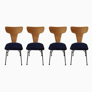 Italian Rattand and Black Metal Dining Chairs, 1950s, Set of 4