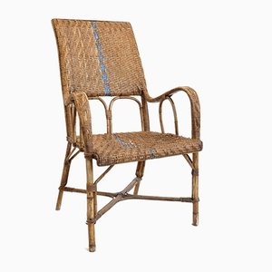 Wicker and Bamboo Lounge Chair, 1960s