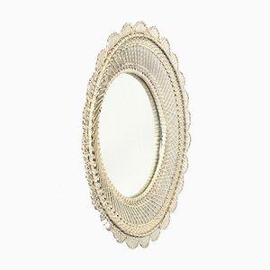 Round White Rattan-Framed Mirror, 1960s