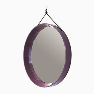 Mid-Century Danish Purple Plastic Mirror, 1960s