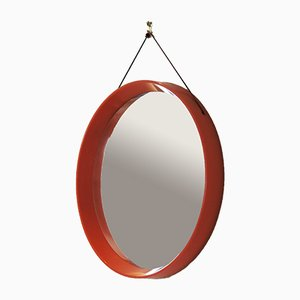 Mid-Century Danish Orange Plastic Mirror, 1960s
