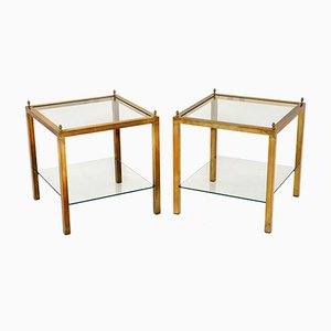 Glass and Brass Side Tables, 1960s, Set of 2