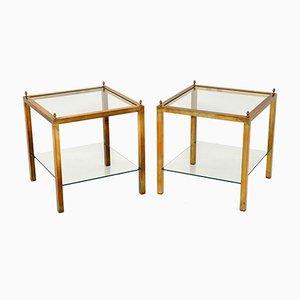 Tables d'Appoint en Verre et en Laiton, années 60, Set de 2