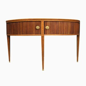 English Demilune Mahogany, Walnut, and Maple Inlaid Console Table, 1960s