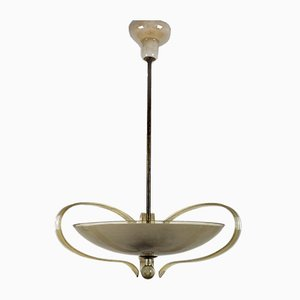 Brass and Curved Glass Chandelier from ESC Zukov, 1940s