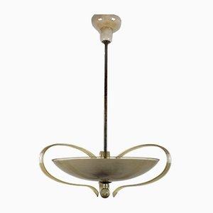 Lámpara de araña de latón y vidrio curvado de ESC Zukov, años 40
