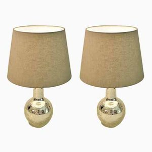 Swedish Silver Crackled Glass Table Lamps from Luxus, 1960s, Set of 2