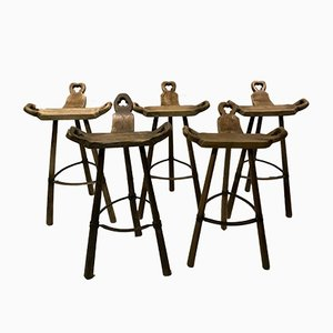 Vintage Spanish Brutalist Stools, Set of 5