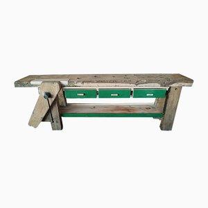 Mesa de carpintero Mid-Century de roble