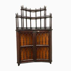 Antique Gothic Style Mahogany Corner Cabinet