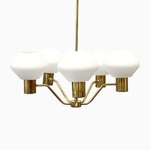 Scandinavian Brass and Opaline Glass Chandelier, 1960s