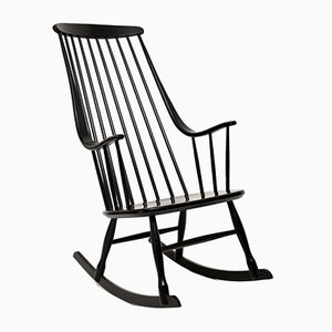 Finnish Ebonized Rocking Chair by Ilmari Tapiovaara, 1960s
