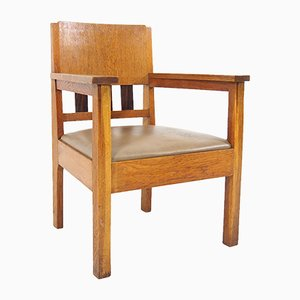 Dutch Oak and Rosewood Armchair, 1930s