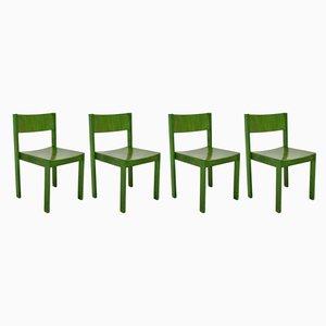 Grüne Mid-Century Esszimmerstühle von E. & A. Pollack, 4er Set