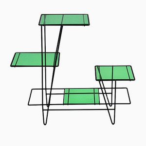 French Green and Black Plant Stand, 1950s