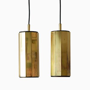 Decagonal Brass Ceiling Lamps, 1960s, Set of 2