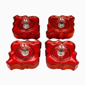 Rote österreichische Deckenlampen aus Keramik, 1970er, 4er Set