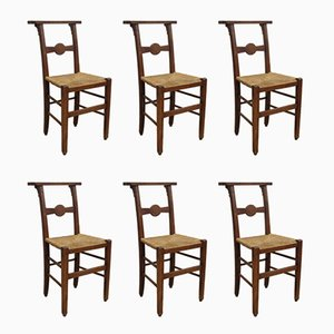 Antique French Chapel Dining Chairs, Set of 6