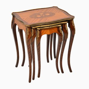 French Mahogany Marquetry Rosewood Nesting Tables, 1930s, Set of 3