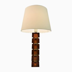 Large Swedish Brown Glass and Brass Table Lamp by Carl Fagerlund for Orrefors, 1960s