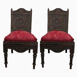 Antike koloniale Esszimmerstühle, 2er Set