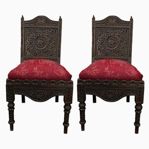 Antique Colonial Dining Chairs, Set of 2