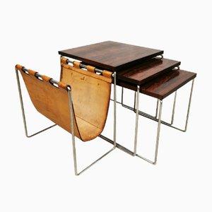 Tavolini ad incastro vintage in palissandro di Brabantia, anni '60
