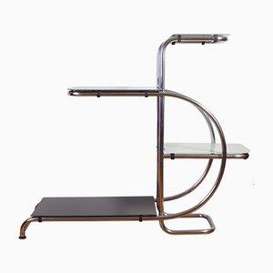 Florero estilo Bauhaus de acero tubular cromado de Emile Guyot, años 40