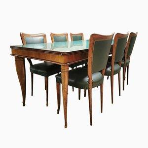Tavolo da pranzo vintage e sedie di Paolo Buffa, Italia, anni '40, set di 7