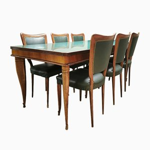 Vintage Italian Dining Table & Chairs Set by Paolo Buffa, 1940s, Set of 7