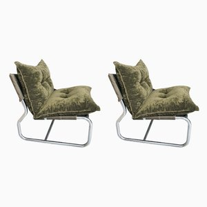 Tubular Steel and Green Plush Club Chairs, 1970s, Set of 2