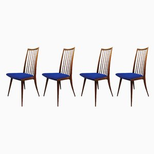 Vintage Danish Spindle Back Dining Chairs, 1960s, Set of 4