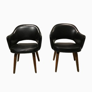 Black Leather Executive Armchairs by Eero Saarinen for Knoll Inc./Knoll International, 1960s, Set of 2