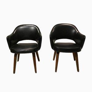 Konferenzstühle aus schwarzem Leder von Eero Saarinen für Knoll Inc./Knoll International, 1960er, 2er Set