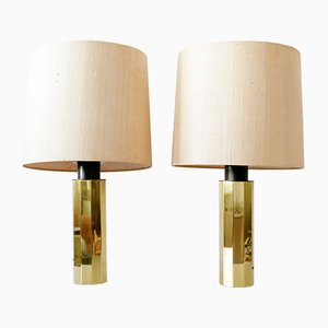 German Decagonal Brass Table Lamps, 1960s, Set of 2