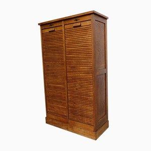 Industrial Oak Tambour Cabinet, 1940s