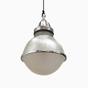 Mid-Century Aluminum & Glass Pendant Lamp from Holophane