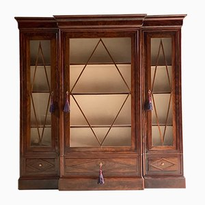 Antique French Flamed Mahogany Display Cabinet
