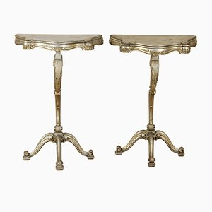 Italian Carved Console Tables, 1950s, Set of 2