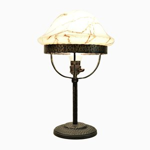 Art Nouveau Style Swedish Wrought Iron and Glass Table Lamp, 1920s
