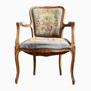 Antique French Pale Blue Embroidered Fauteuil Armchair