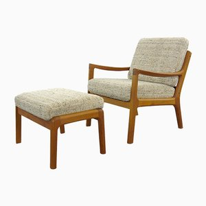Teak and Wool Senator Lounge Chair and Ottoman Set by Ole Wanscher for Cado, 1960s