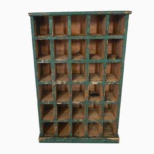 Estantería italiana de madera verde, años 50